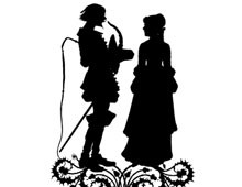 Silhouette of a Man and Woman Standing Together