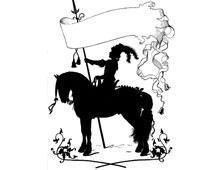 Silhouette of Horse and Rider Holding a Banner