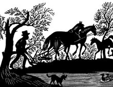 Silhouette of a Man Plowing