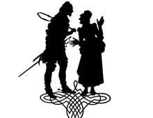 Silhouette of Old Woman and Man Talking