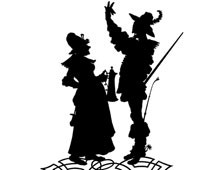 Silhouette of a Man Talking to a Woman with a Beer Stein