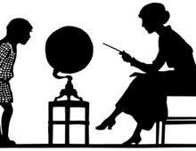 Silhouette of Teacher and Student