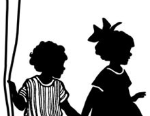 Silhouette of Boy and Girl Holding Hands