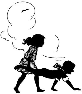 Silhouette of Two Children Playing Wheelbarrow