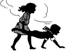Silhouette of Two Children Playing Wheelbarrow