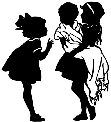 Silhouette of Girls and a Baby