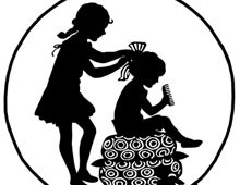 Silhouette of Two Girls Fixing Their Hair
