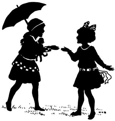 Silhouette of Girls Talking