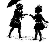 Silhouette of Girls Talking
