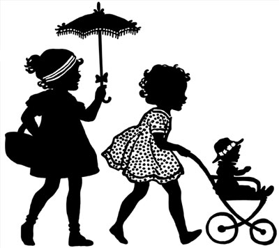 Silhouette of a Girls Pushing a Stroller