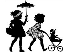 Silhouette of a Two Girls Pushing a Doll in a Stroller