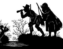 Silhouette of Men Exploring