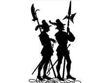 Silhouette of Men with Weapons