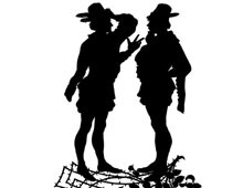 Silhouette of Two Men Speaking to Each Other