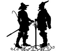 Silhouette of Two Men with Swords Talking