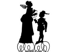 Silhouette of a Boy Talking to a Lady