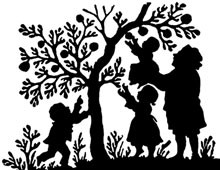 Silhouette of Woman and Children Picking Apples