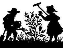 Silhouette of a Woman and Man Gardening