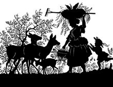 Silhouette of Woman and Child with Deer