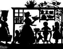 Silhouette of a Woman Feeding Children