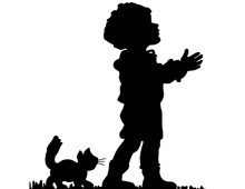 Silhouette of a Kitten and Child