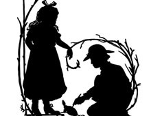 Silhouette of a Boy and Girl with a Turtle