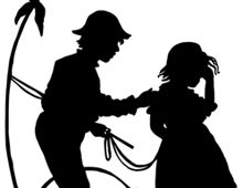 Silhouette of a Boy Comforting a Crying Girl
