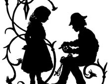 Silhouette of a Boy Fixing a Toy