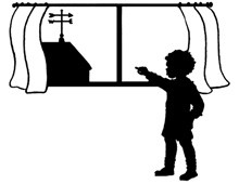 Silhouette of a Boy Pointing outside a Window