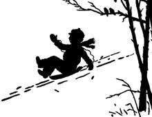 Silhouette of a Boy Sledding