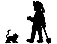 Silhouette of a Child and a Kitten