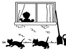 Silhouette of a Child Looking at Cats