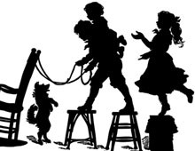 Silhouette of Children Playing on Chairs