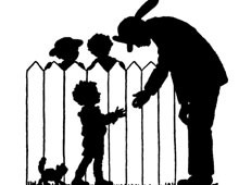 Silhouette of a Fireman and Children