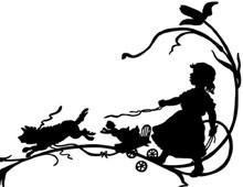 Silhouette of a Girl and a Dog