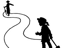 Silhouette of a Woman and Child Walking on a Path