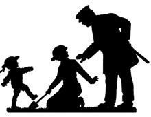 Silhouette of a Police Officer Talking to a Woman and Child