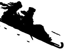 Silhouette of a Man and Woman Sledding