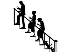 Silhouette of People and Cats Walking Up Stairs