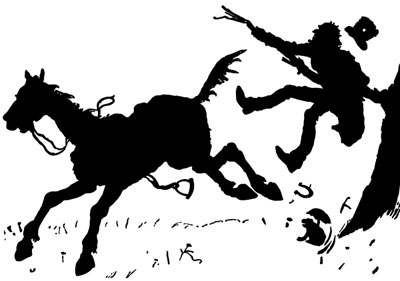 Silhouette of a Man Losing his Horse