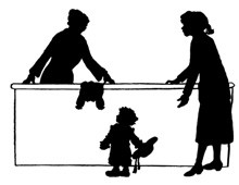 Silhouette of Two Women and a Child