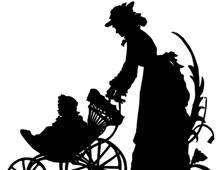 Silhouette of a Woman Pushing a Baby Buggy
