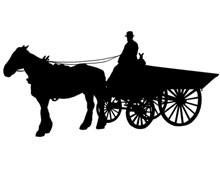 Horse and Wagon Silhouette