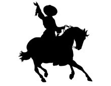 Silhouette of Cowgirl on Horse
