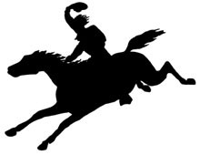 Silhouette of a Horse and Rider Galloping