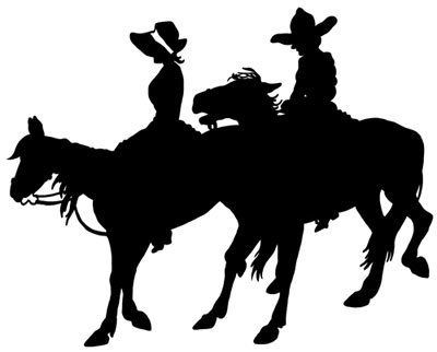 Silhouette Picture of Horses